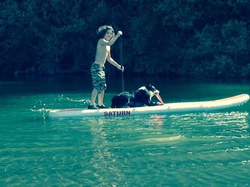 A boy,a dog,a river